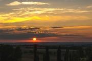 Fränkische Landschaft mit Sonnenuntergang