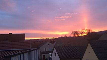 Blick aus Hotelzimmer, Sonnenaufgang in Wiesenbronn