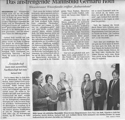 Zeitungsartikel MAIN-POST Eröffnung Rothweinhotel